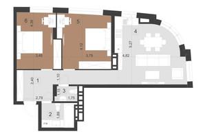 ЖК Парус Преміум: планування 2-кімнатної квартири 73.6 м²