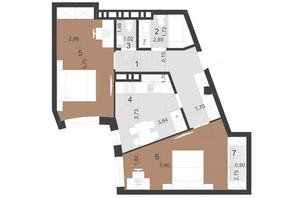 ЖК Парус Преміум: планування 2-кімнатної квартири 60.8 м²