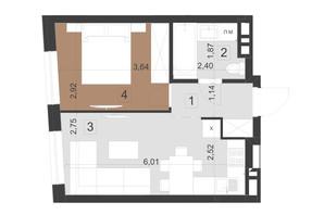 ЖК Парус Преміум: планування 1-кімнатної квартири 34.6 м²