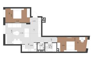 ЖК Парус Преміум: планування 2-кімнатної квартири 77.1 м²