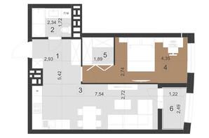 ЖК Парус Преміум: планування 1-кімнатної квартири 52 м²