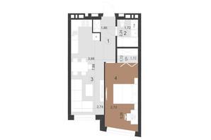 ЖК Парус Преміум: планування 1-кімнатної квартири 46 м²