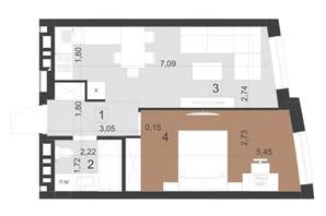 ЖК Парус Преміум: планування 1-кімнатної квартири 41.5 м²