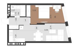 ЖК Парус Преміум: планування 1-кімнатної квартири 45.8 м²
