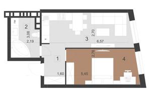 ЖК Парус Преміум: планування 1-кімнатної квартири 44.5 м²
