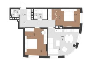 ЖК Парус Преміум: планування 2-кімнатної квартири 68.8 м²