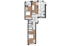 ЖК Парус Преміум: планування 3-кімнатної квартири 82.8 м²