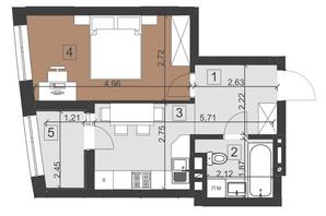 ЖК Парус Преміум: планування 1-кімнатної квартири 35.7 м²