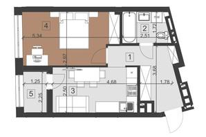ЖК Парус Преміум: планування 1-кімнатної квартири 43 м²