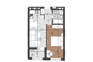 ЖК Парус Преміум: планування 1-кімнатної квартири 41 м²