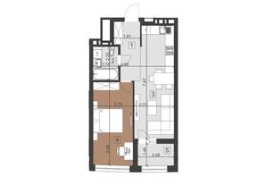 ЖК Парус Преміум: планування 1-кімнатної квартири 48.5 м²