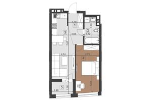 ЖК Парус Преміум: планування 1-кімнатної квартири 48 м²