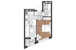 ЖК Парус Преміум: планування 1-кімнатної квартири 40.1 м²