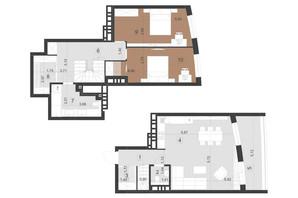 ЖК Парус Преміум: планування 2-кімнатної квартири 102.1 м²