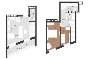 ЖК Парус Преміум: планування 2-кімнатної квартири 68.5 м²