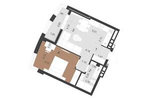 ЖК Парус Премиум (Premium): планировка 1-комнатной квартиры 48.4 м²