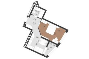 ЖК Парус Премиум (Premium): планировка 1-комнатной квартиры 40.4 м²