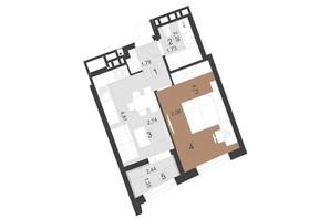 ЖК Парус Премиум (Premium): планировка 1-комнатной квартиры 36.7 м²