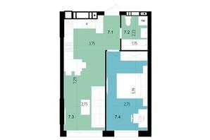 ЖК Парус Riverside: планування 1-кімнатної квартири 40 м²