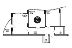 ЖК Parus: планировка 2-комнатной квартиры 64 м²