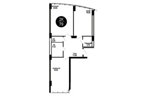 ЖК Parus: планировка 2-комнатной квартиры 79 м²