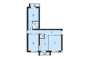 ЖК Пейзажные озера: планировка 3-комнатной квартиры 78 м²