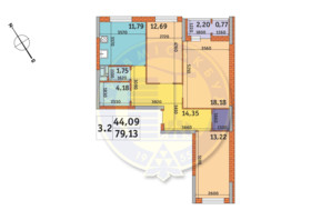 ЖК «Пектораль»: планировка 3-комнатной квартиры 79.13 м²