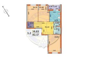 ЖК «Пектораль»: планировка 3-комнатной квартиры 82.17 м²
