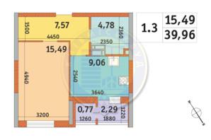 ЖК «Пектораль»: планування 1-кімнатної квартири 39.96 м²
