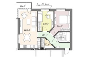 ЖК Perfect house: планування 3-кімнатної квартири 59.94 м²