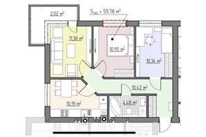 ЖК Perfect house: планування 3-кімнатної квартири 59.78 м²
