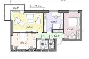 ЖК Perfect house: планування 3-кімнатної квартири 72.12 м²
