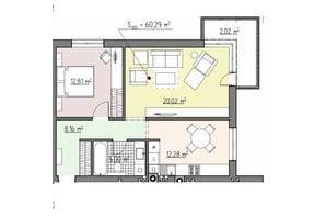 ЖК Perfect house: планування 2-кімнатної квартири 60.29 м²