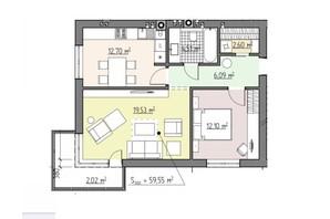 ЖК Perfect house: планування 2-кімнатної квартири 59.55 м²