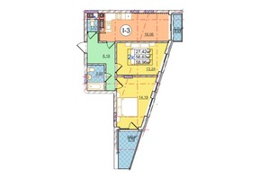 ЖК Перфецького: планування 2-кімнатної квартири 58.96 м²