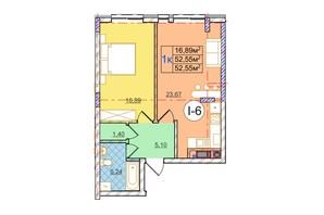 ЖК Перфецького: планування 1-кімнатної квартири 52.55 м²