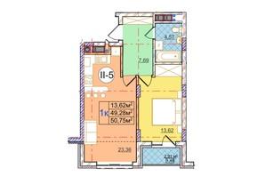 ЖК Перфецького: планування 1-кімнатної квартири 50.75 м²