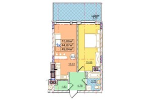 ЖК Перфецького: планування 1-кімнатної квартири 49.04 м²
