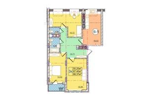 ЖК Перфецького: планування 3-кімнатної квартири 88.37 м²