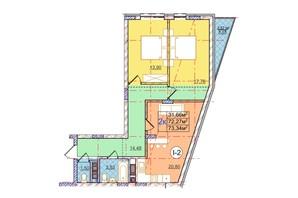 ЖК Перфецкого: планировка 2-комнатной квартиры 73.34 м²