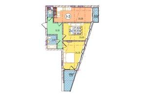 ЖК Перфецкого: планировка 2-комнатной квартиры 58.96 м²