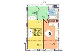 ЖК Перфецкого: планировка 1-комнатной квартиры 45.36 м²