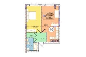 ЖК Перфецкого: планировка 1-комнатной квартиры 52.55 м²