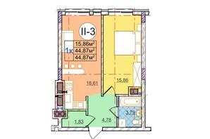 ЖК Перфецкого: планировка 1-комнатной квартиры 44.87 м²