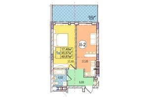 ЖК Перфецкого: планировка 1-комнатной квартиры 49.87 м²
