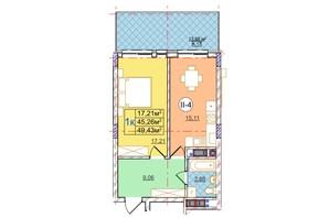 ЖК Перфецкого: планировка 1-комнатной квартиры 49.43 м²