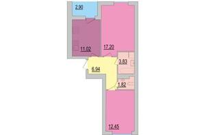 ЖК Перлина Дніпра: планування 2-кімнатної квартири 56.15 м²