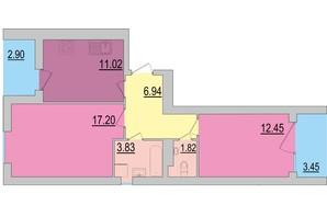 ЖК Перлина Дніпра: планування 2-кімнатної квартири 59.6 м²