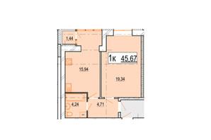 ЖК Перлина Поділля: планування 1-кімнатної квартири 45.67 м²