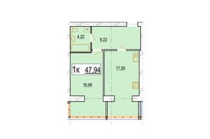 ЖК Перлина Поділля: планування 1-кімнатної квартири 47.94 м²